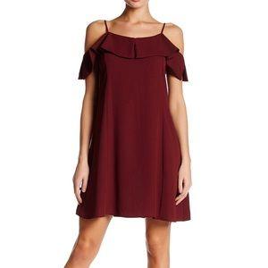 Dee Elle Large Dark Red Cold Shoulder Shift Dress